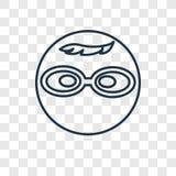 Icona lineare di vettore di concetto del nerd isolata sul backgrou trasparente royalty illustrazione gratis