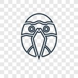 Icona lineare di vettore di concetto del pappagallo isolata su backgr trasparente illustrazione di stock