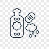 Icona lineare di vettore di concetto del sapone del piatto isolata sul BAC trasparente illustrazione vettoriale