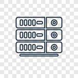 Icona lineare di vettore di concetto del server isolata su backgr trasparente illustrazione vettoriale