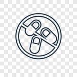 Icona lineare di vettore di concetto delle pillole isolata sul backgro trasparente royalty illustrazione gratis