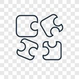 Icona lineare di vettore di concetto di puzzle isolata su backgr trasparente illustrazione vettoriale