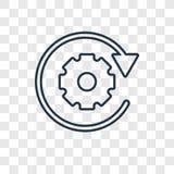 Icona lineare di vettore dell'elaborazione dei dati di concetto isolata su transpare illustrazione di stock