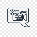 Icona lineare di video di commento vettore di concetto isolata su trasparente illustrazione di stock