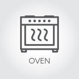Icona lineare semplice del forno Cottura dell'etichetta grafica dell'attrezzatura Illustrazione di vettore Fotografia Stock Libera da Diritti