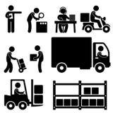 Icona logistica di consegna del magazzino illustrazione vettoriale
