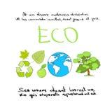 Icona Logo Collection verde stabilito di tiraggio della mano di Eco illustrazione di stock