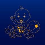 Icona/logo della ragazza del bambino Illustrazione di arte illustrazione vettoriale