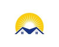 Icona Logo Design Element di Real Estate di Sun Immagine Stock Libera da Diritti