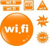 Icona lucida stabilita del tasto dei Wi Fi Fotografia Stock