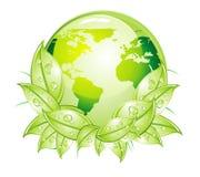 Icona lucida verde del mondo illustrazione di stock