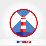 Icona luminosa del faro, illustrazione di vettore Fotografia Stock Libera da Diritti