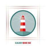 Icona luminosa del faro, illustrazione di vettore Fotografie Stock Libere da Diritti