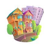 Icona luminosa dell'illustrazione di vettore di vecchie case vittoriane con le colonne Fotografia Stock