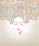 Icona lunga di stile di capelli delle donne, fronte delle donne di logo Immagini Stock Libere da Diritti
