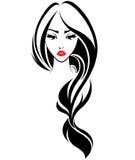 Icona lunga di stile di capelli delle donne, fronte delle donne di logo su fondo bianco Immagine Stock