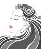 Icona lunga di stile di capelli, fronte delle donne di logo Immagini Stock