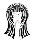 Icona lunga di stile di capelli, fronte delle ragazze di logo Immagini Stock