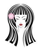 Icona lunga di stile di capelli, il fronte della ragazza di logo Fotografie Stock