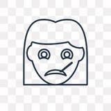 Icona malata di vettore della ragazza su fondo trasparente, lineare illustrazione di stock