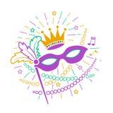 Icona Mardi Gras Mask Fotografia Stock
