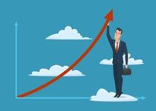 Icona maschio di affari della valigia dell'uomo di crescita della freccia della nuvola dell'uomo d'affari Fotografia Stock Libera da Diritti