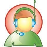 Icona maschio di servizio di assistenza al cliente Fotografie Stock Libere da Diritti