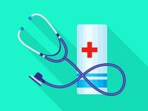 Icona medica della fasciatura dello stetoscopio, stile piano illustrazione di stock