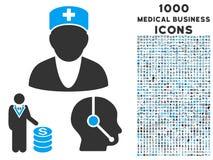 Icona medica di affari con 1000 icone mediche di affari Fotografia Stock