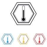 Icona medica di web del termometro Fotografie Stock Libere da Diritti
