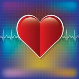 Icona medica rossa del cuore Fotografie Stock Libere da Diritti