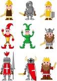 Icona medioevale della gente del fumetto Fotografia Stock Libera da Diritti