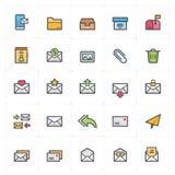 Icona messa - colpo del profilo di colore pieno della lettera e del email illustrazione vettoriale