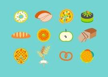 Icona messa con le pasticcerie. Fotografia Stock
