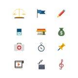 Icona mobile del sito Web di app di web di vettore di emergenza giudiziaria piana di legge Fotografia Stock