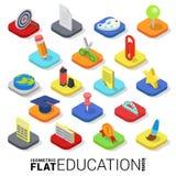 Icona mobile di app di vettore 3d di web isometrico piano di istruzione Fotografia Stock