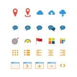 Icona mobile di app di web dell'interfaccia di vettore della nuvola di chiacchierata del perno piano della mappa Immagine Stock