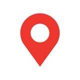 Icona moderna di stile piano di progettazione del perno della mappa Simbolo minimo di vettore del puntatore rosso semplice Segno  Fotografie Stock Libere da Diritti