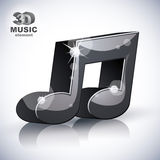 Icona moderna musicale d'avanguardia di stile della nota 3d isolata Immagini Stock