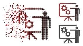 Icona muoventesi del bordo di Dot Halftone Mechanical Gears Project illustrazione di stock