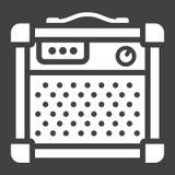 Icona, musica e strumento di glifo dell'amplificatore illustrazione di stock