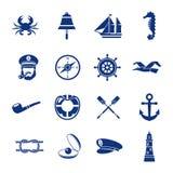 Icona nautica messa in blu illustrazione vettoriale