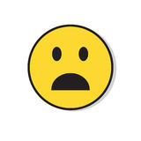 Icona negativa di emozione colpita fronte triste giallo della gente Fotografia Stock Libera da Diritti