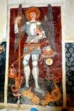 Icona nella vecchia chiesa fortificata Dirjiu, la Transilvania, Romania Fotografia Stock