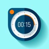 Icona nello stile piano, temporizzatore rotondo del cronometro sul fondo di colore 15 secondi Orologio di sport Elemento di proge Immagini Stock Libere da Diritti