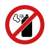 Icona nera della bomboletta spray su fondo bianco Nessun'icona del segno della latta di spruzzo dei graffiti dell'aerosol Simbolo illustrazione vettoriale