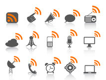 Icona nera di comunicazione con il simbolo arancione dei rss Immagine Stock