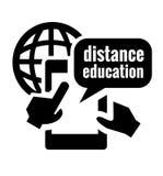 Icona nera di istruzione a distanza Fotografia Stock Libera da Diritti