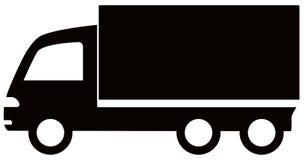 Icona nera isolata del camion Fotografie Stock Libere da Diritti