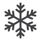 Icona, nuovo anno e Natale di glifo del fiocco di neve